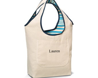 Personalized Reversible Cotton Tote - Embroidered Blue Tote  - Personalized Reversible Tote  (1407blue)