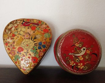 2 Vintage Lacquered Trinket Boxes Floral and Birds FREE SHIPPING