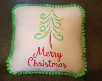 Merry Christmas Swirly Tree Pillow
