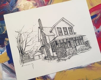 """House Drawing - 9""""x12"""""""