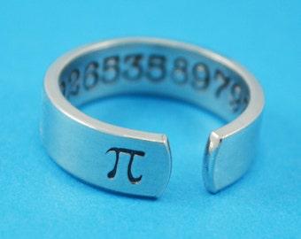 Pi Ring - Hand Stamped Math Teacher Gift