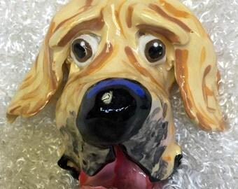 Hand Painted Ceramic Dog Face / Dog head sculpture / Whimsical dog / Dog Art / Custom Dog / Debby Carman