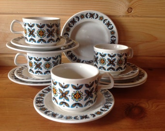 1970s Staffordshire Potteries Rudyard   Ironstone Tea Cups, Saucers and Tea plates - Breakfast Set for Four.
