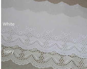 "1yard Broderie Anglaise Eyelet Cotton lace trim 7.3""(18.5cm) YH928 laceking2013"
