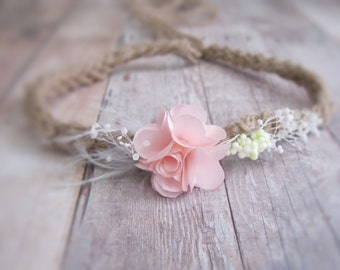 Newborn Tieback, Newborn Girl Photo Prop, Baby Girl Headband, Newborn Flower Halo, Newborn Flower Crown