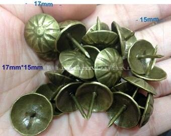 "50 Pcs ""The umbrella"" 17mmX15mm upholstery tacks/thumb tacks/sofa tacks/Upholstery Decorative Nails/tacks - [Antique Z finished]- UN77"