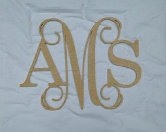 Wooden Vine Monogram, Unpainted Vine Monogram Wall Hanging, Block Letter Monogram, Wedding Monogram, Monogram Door Hanger, Monogram