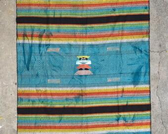 Vintage Bright Rainbow Striped Woven Blacket