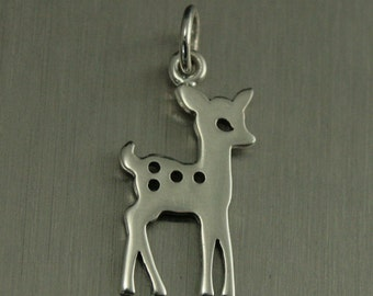 Sterling Silver Deer Charm--Woodland Charm--Deer Pendant--Fawn Charm--Cutout Deer Charm--Silver Cutout Deer Charm--Forest Animal