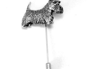 Scottish Highland Terrier Dog Lapel Stick Pin, English Pewter, scottie, tie (ab)