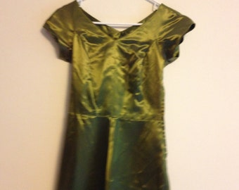 Vintage 1950s Homemade Olive Green Gown