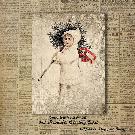 Vintage Girl Christmas Tree| Snow | Christmas | Printable | Downloadable Greeting Card| 5x7 | DG 007
