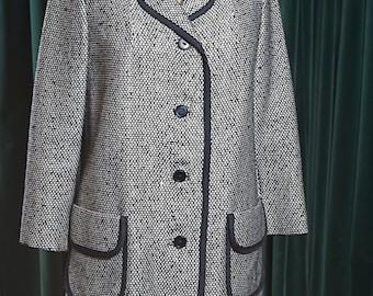 Sale! Vintage 80s SILVERTWEED 3/4 DRESS COAT Jacket Car Coat Silk Wool Black & White