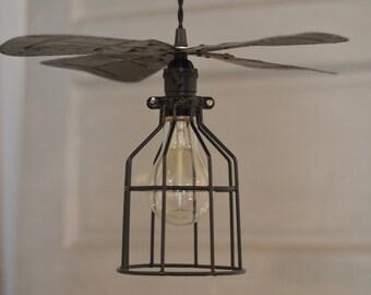 Repurposed Fan Blade Pendant, Repurposed Lighting, Unique Lighting, Vintage Fan Blade, Pendant Lighting, Black Metal Pendant