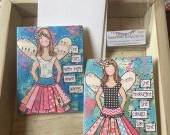 Angel Notecards, angel Mixed Media Notes