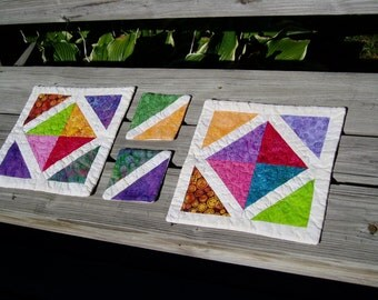 Hand Quilted Place mats and mug rugs, set of two each