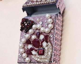 Red jeweled Cigarette Case  ,Cigarette Pack Holder