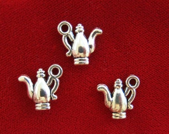 "BULK! 30pc ""teapot"" charms in antique silver style (BC935B)"