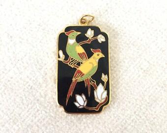 Cloisonné Love birds pendant