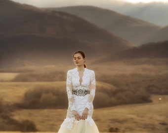Off white tulle wedding dress
