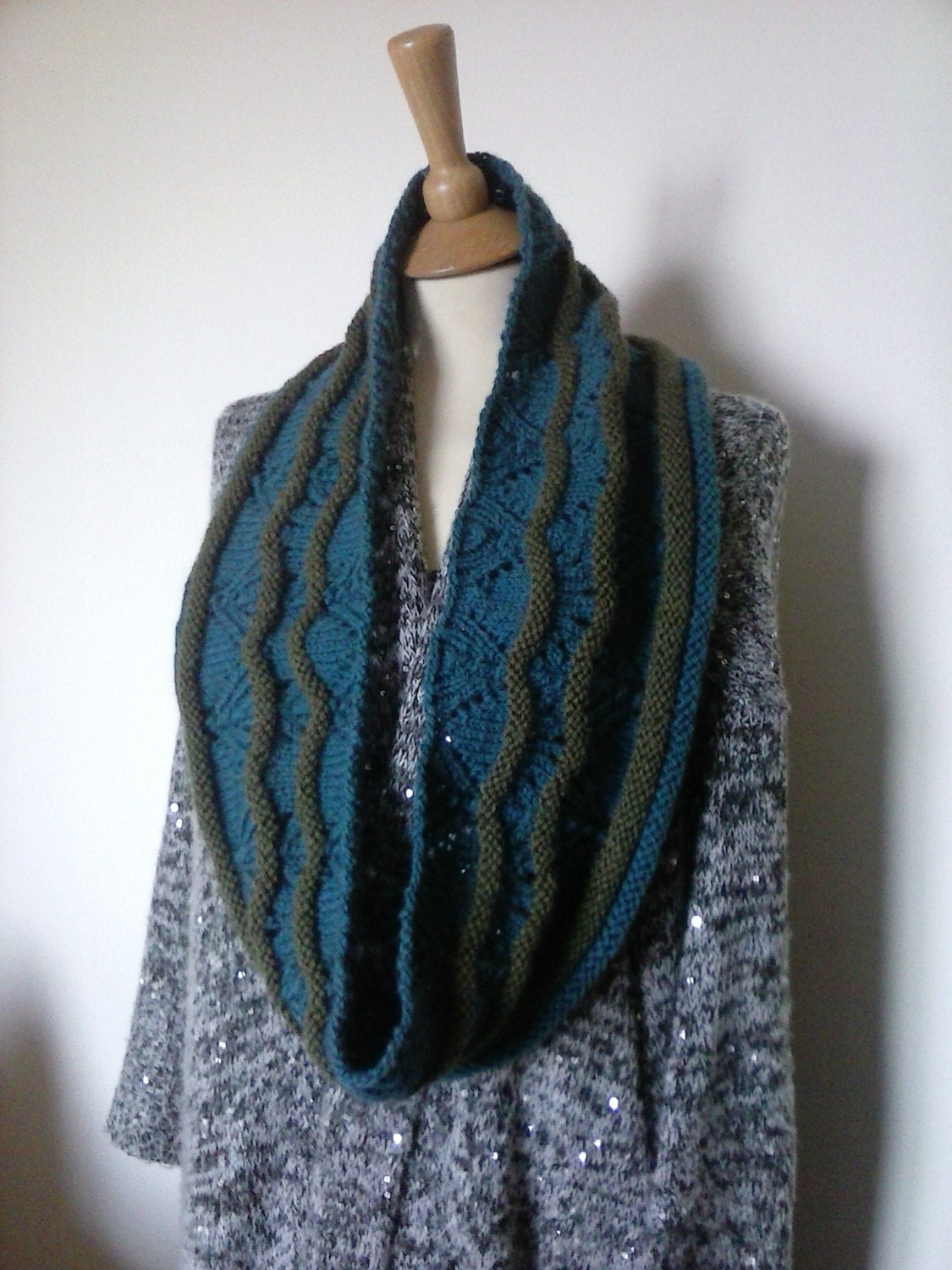 Knitting Pattern For Unisex Cowl Lace And Textured Bands For Warmth And Style From