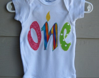 Birthday Onesie, Gerber 12 mth ONE - 1st Birthday onesie, infant bodysuit, crawler or creeper, infant bodysuit - will blend with any outfit