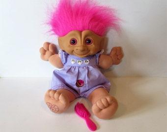Wonderful Medium 1998 Galoob TT Toys Soft Bodied Troll - Deep Pink Eyes, Hair and Gemstone /MEMsArtShop.