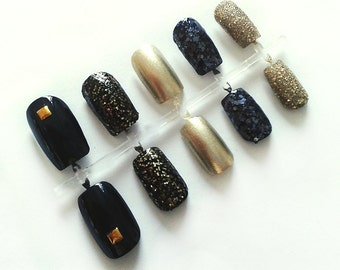 Black & Gold Hand Painted Fake Nails, Handpainted False Nails, Artificial Nail Set, Glitter Nail Art Design