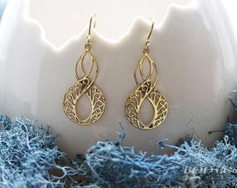 Infinity brass earrings