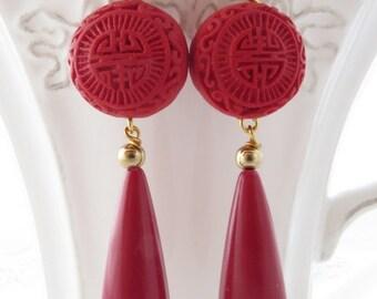 Red cinnabar earrings, red coral earrings, uk drop earrings, dangle earrings, carved cinnabar jewelry, italian jewels, deep red jewels