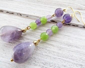 Amethyst earrings, green quartz earrings, dangle earrings, purple stone earrings, semi precious stone jewellery, italian gemstone jewelry