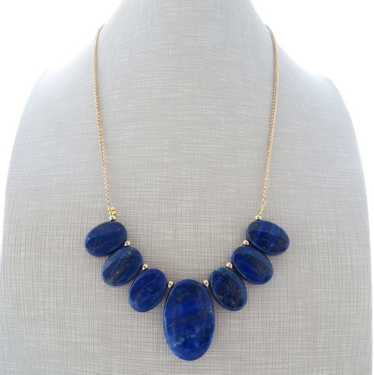 blue lapis necklace bib necklace pendant necklace statement