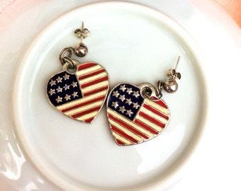American Flag Earrings & Necklace Set