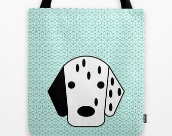 Dalmatian tote bag dog shoulder bag dog bag dog purse dog lover dog portrait pet totes printed dog bag green bag modern tote bag