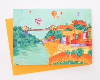 A Bristol Suspension Bridge Blank Greetings Card