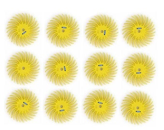 "3M Radial Bristle Discs Brushes Yellow 80 Grit 3/4"" Pack Of 12 Bristle Disc Brush WA 100-133-080"