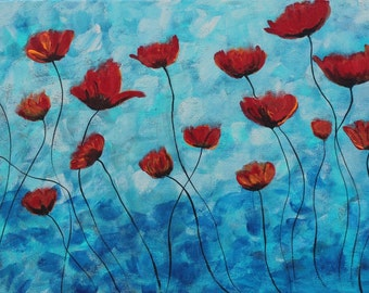 Giclee PRINT 5x10 Original California Red Poppies Flower Floral Acrylic Card Painting Original Minimalist Contemporary Nature