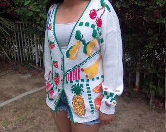 Cardigan Sweater,Fruit,Sweater,white,colorful fruit,Free US Shipping