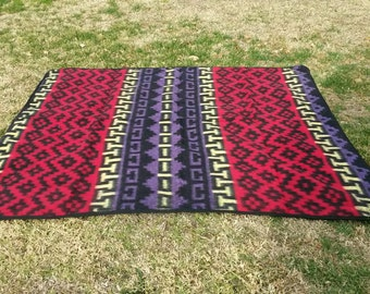 """Mexican blanket, Indian Blanket,thick,soft blanket, Red ,Yellow ,Purple, 74"""" L x 63"""" W"""