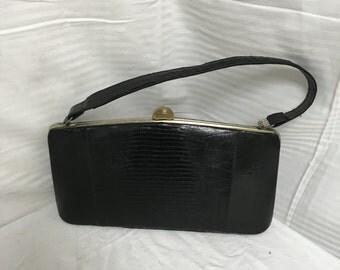 Black Lizard purse,bag,handbag, 1950s,1960s,purse, top handle, bag
