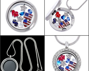 I Love USA Silver Patriotic Jewelry Themed Living Memory Locket Pendant Necklace, Heart Flag Star Dollar Symbol Floating Charms DIY Gift Box
