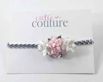 Pink headband, silver headband, braided headband, Silver Braided Headband, Boho Headband, Pink flower Headband, pink flower girl Headband