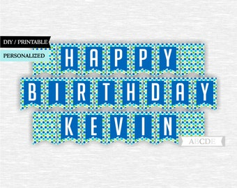 Personalized Blue, Green, Happy Birthday Banner DIY Printable (other)