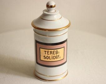 Beautiful Large French Vintage Hand Painted Porcelain Pharmacy Jar/Apothecary Jar / Époque Vintage