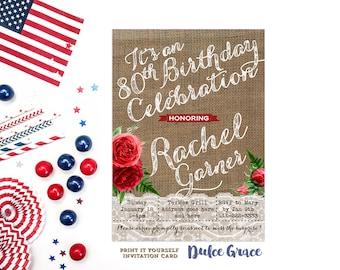 milestone birthday invitations, printable 80th birthday invitations, 70th bday party invites, 60th birthday invites, 4th July birthday party