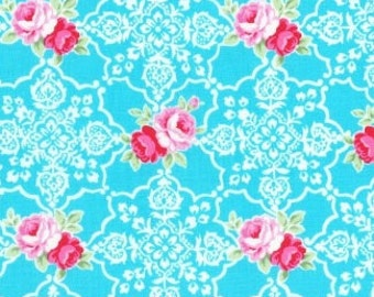 Lecien Flower Sugar, Spring 2016, Aqua Blue with Medallions and Roses, LEC31377-70