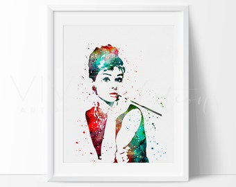 Audrey Hepburn Print, Breakfast at Tiffany's Watercolor Painting, Birthday Gift, Gift for her, Home Decor, Wall Art Decor, Not Framed, No. 5