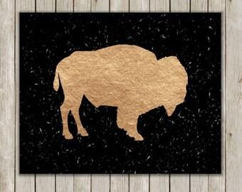8x10 Buffalo Modern Art Print, Holiday Art, Rose Gold Foil, Chalkboard Wild Game Print, Bison Wall Art, Home Decor, Instant Digital Download