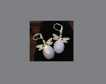 Light Blue & Silvertone Dragonfly Earrings
