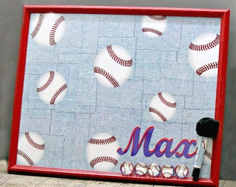 FREE SHIPPING, Magnetic Dry Erase Board, Framed Magnet Board, Bulletin Board, Baseball, Boy Room, Wall Decor, Boy Board, Organizer, Softball